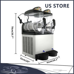 Us 24l Double Can Slush Making Machine Frozen Drink Machine Ice Maker Commercial