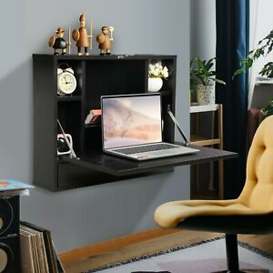 Wall Mounted Floating Folding Computer Desk Laptop Table With Bookshelf Drawer