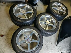 00 04 Corvette C5 Factory Polished Wheels With Michelin Tires Used Set Of 4
