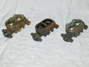 Lot Of 3 Street Rod Master Cylinders Cast Iron Universal Gm 38 For Parts Repair