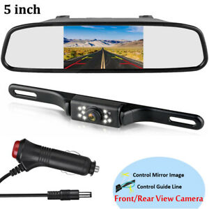 Color Tft Lcd 5 Monitor Mirror 2 In 1 Waterproof Front rear View Camera 9leds