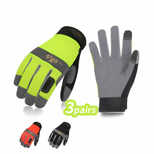 Vgo 1 3pairs Synthetic Leather Work Gloves For Men Mechanic Gloves sl7584