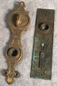 Antique Cast Brass And Tin Iron Door Hardware Plates