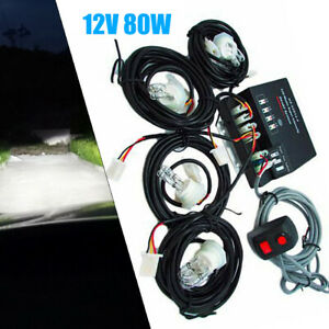 Pro New Emergency Strobe Light Headlight Kit Warning System 4hid Bulbs White 80w