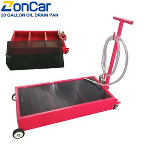 20 Gallon Oil Drain Pan Low Profile Dolly W Pump 8 Hose And Wheels Car Truck