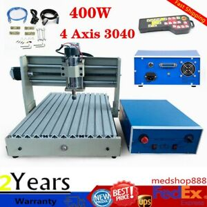3040 Cnc Usb 4 Axis Router Engraver Drill Woodwork Engraving Machine 400w W Rc
