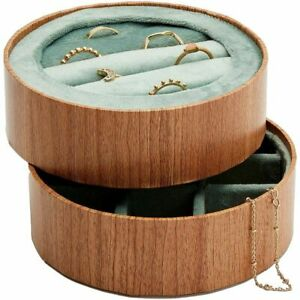 Wooden Jewelry Trays With Velvet For Rings And Earring 4 3 Inches 2 Pack