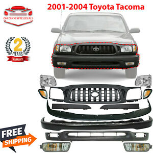 Front Bumper Primed Kit With Grille Headlights For 2001 2004 Toyota Tacoma
