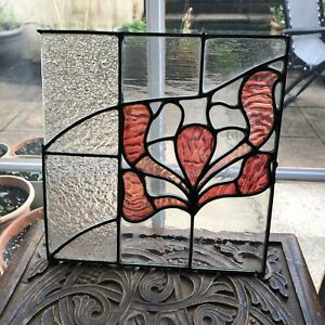 Antique Stained Glass Panel With Pink Floral Detail