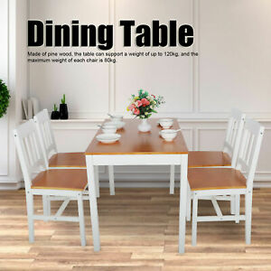 5 Piece Wood Dining Table Set 4 Chairs Home Kitchen Breakfast Furniture White Us