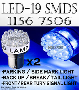 2 Pairs 1156 1073 5007 Led 19 Smds Blue Fit Tail Brake Light Bulbs Lamps H55