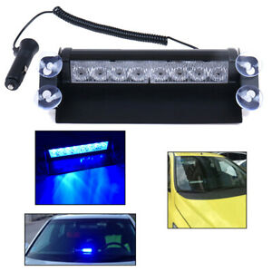 8 Led Blue Emergency Police Car Truck Dashboard Warning Flash Strobe Light Ea2