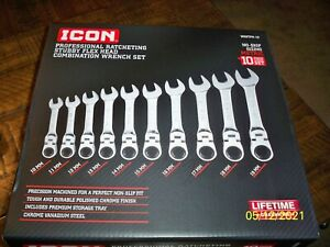 Icon Professional Ratcheting Stubby Flex Head Combination Wrench Set Wrstfm 10
