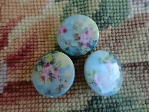 Stunning Antique Hand Painted Floral Pink Roses Porcelain Stud Button Set Of 3