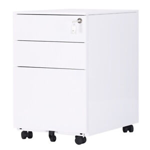 Vertical Lockable 3 Drawers Mobile File Cabinet Office Documents Letter Storage