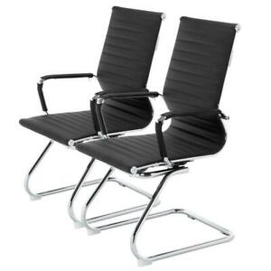 Set Of 2 Office Chair High back Ergonomic Computer Chairs Pu Conference Chair