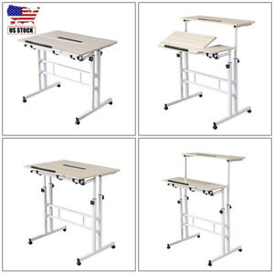 Home Office Laptop Desk Mobile Stand Up Computer Desk Height Angle Adjustable