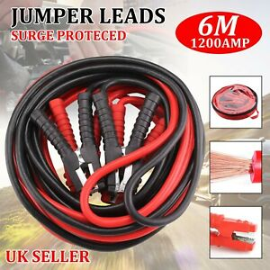 6 Metre Heavy Duty 1200amp Car Van Jump Leads Booster Cables Start Recovery