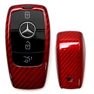Real Genuine Red Carbon Fiber Smart Key Fob Shell For Mercedes New A C E Cla Cls