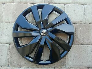 15 Custom Gloss Black Hubcaps Wheelcovers For Fiat 500 4 New Beautiful