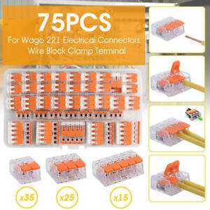 75x For Wago 221 Electrical Connectors Wire Block Clamp Terminal Cable Reusable