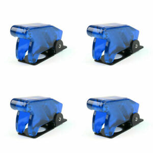 4pcs Toggle Switch Boot Plastic Safety Flip Cover Cap 12mm Clear Blue Tc