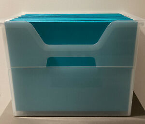 The Container Store Desktop Hanging File Folder With 18 Turquoise File Folders