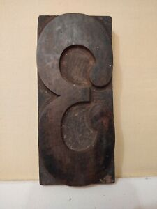 Vintage Letterpress Wood Type Printers Block Number 3 6 Tall
