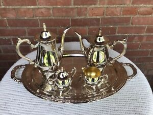 Silverplate Oneida Tea Service Set With Tray Mint Condition