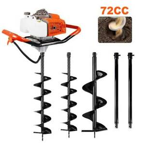 72cc 2 stroke Gasoline Gas One Man Post Hole Digger Earth Auger Machine Usa
