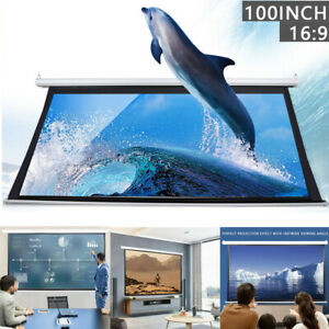 100in 16 9 3d Hd Projector Screen Wall Ceiling Electric Motorized remote Control
