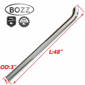 Bozz 3 3 Inch Od X 48 Length Chrome Curved Stack Pipe Exhaust Tube