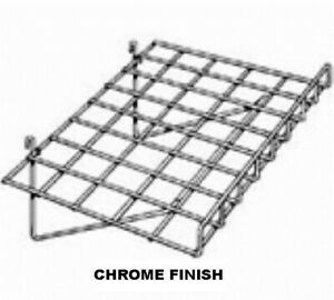 Store Display Fixtures 2 New Grid Wire Shelves With Lip 24 Chrome