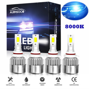 4pcs 9005 9006 Led Combo Headlights Bulb High Low Beam Kit 240w 8000k Ice Blue