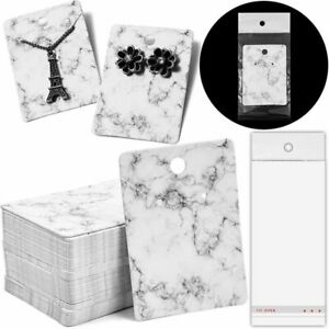Jewelry Display Cards In Marble Design With Self seal Bags 2 X 2 8 In 200 Pcs