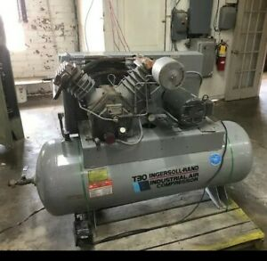 Ingersoll rand T30 7 5 Hp 120 Gallon Tank Air Compressor Fully Functional
