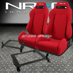 Nrg Type R Red Reclinable Racing Seats Low Mount Bracket For 06 11 Civic Fg Fa