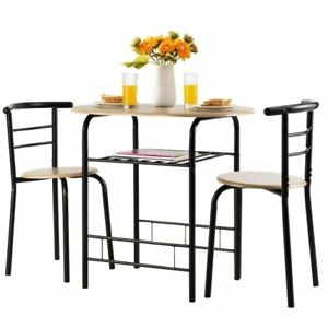 3 Pcs Dining Set 2 Chairs And Table Compact Bistro Pub Breakfast Home Kitchen