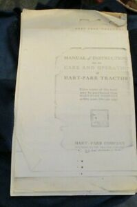 Manual Of Instructions For The Care Operation Of Hart parr Tractors Photo Copy
