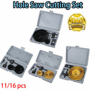 11 16pc Holesaw Hole Saw Kit Wood Drywall Alloy 19 127mm Circle Drill Cutter Set