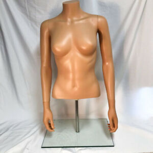 Female Headless Half Torso Mannequin With Heavy Glass Base