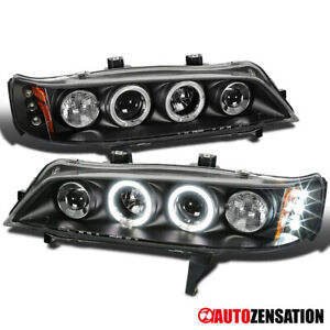 For 1994 1997 Honda Accord Black Led Halo Projector Headlights Lamps Left Right