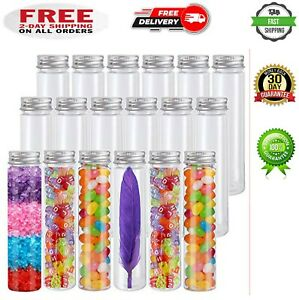 18 Pack 115ml Clear Plastic Test Tubes With Screw Caps Flat Bottomed Containers