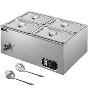 Vevor Commercial Food Warmer Bain Marie Steam Table Countertop 4x1 4 pan Station
