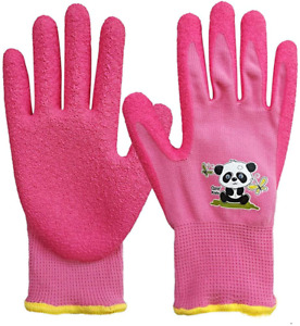 1 Pair Kids Garden Gloves knitted Elastic Liner and Latex Rubber Coated Palm For