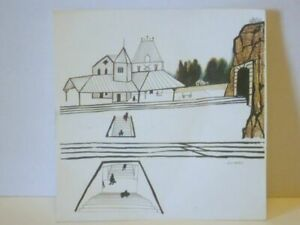 Saul Steinberg 1950s Offset Lithograph Print Stamped Plate Signed Train New York