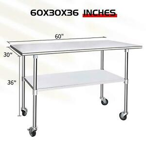 Stainless Steel 30 X 60 Nsf Commercial Kitchen Work Food Prep Table W Casters
