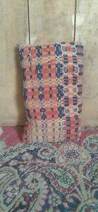 Antique Early Handmade Textile Red Blue Tan Small Pa Coverlet Tuck Pillow 9