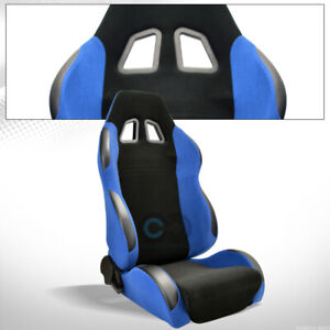 Universal 1x Sp Black Blue Simulated Suede Racing Seat Slider Passenger C01a