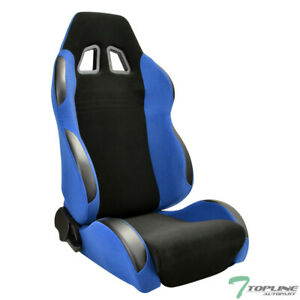 Topline For Chevy T2b Sp Simulated Suede Racing Seat Slider Passenger Blk Blue